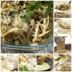 Spätzle, Zwiebeln, Nüsse und Kräuter mischen. Salzen, pfeffern und die Hälfte…