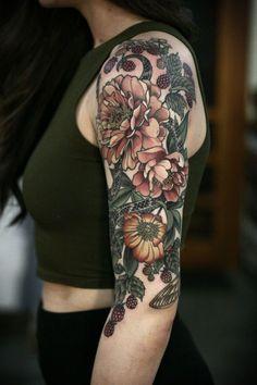 kirsten makes tattoos — Garden half sleeve I've been working on since...