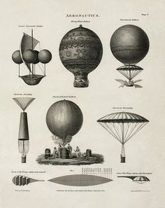 "1818 illustrations of the varieties of hot-air balloon. The first hot-air balloons were launched in France in the late summer of 1783, first unmanned and then with a sheep named Montauciel (""Climb-to-the-sky""), a rooster, and a duck. The first manned..."