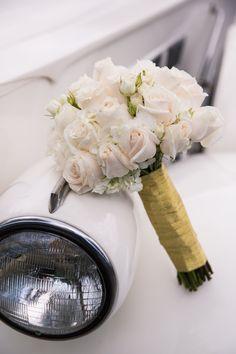 White Rose Bridal Bouquet - A Blue   Gold Rancho El Toro Courtyard Wedding - Oana Foto
