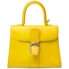 Preowned Delvaux Limited Patent Fluorescent Yellow Brillant Closure... (326.705 RUB) ❤ liked on Polyvore featuring bags, handbags, top handle bags, yellow, delvaux, handle bag, patent purse, top handle handbags and patent handbags