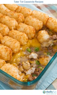 This page contains tater tot casserole recipes. These prepared potatoes can be used to make a tasty, quick main dish.