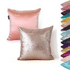 AMAZLINEN(TM) Decorative Glitzy Sequin & Comfy Satin Solid Throw Pillow Cover 18 Inch Square Pillow Case, Hidden Zipper Design, 1 Cover Pack Only(Champagne) AMAZLINEN http://www.amazon.com/dp/B014GNPRUO/ref=cm_sw_r_pi_dp_.jhJwb0B33JG6