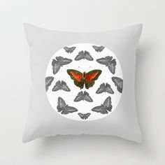 kaleidoscope of butterflies Throw Pillow by The Curators Prints - $20.00