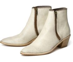 Women's Azi (White) Leather Heeled Ankle Boot | H Shoes