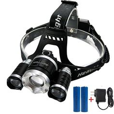 CAMTOA 5000LM Focusable Led Headlight3 LED 3 X T6 Rechargeable Headlamp  2R5 LED Head lamp 4 Modes Headlight Flashlight Torch For Outdoor Sports Camping Biking Hunting Fishing black 1 *** More info could be found at the image url. Note:It is Affiliate Link to Amazon.