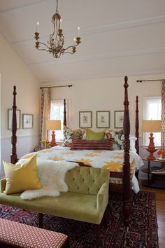 Sarah's House Farmhouse Master Bedroom - love that it was designed around the antique quilt