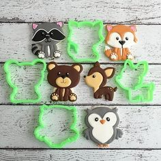 Oatmeal and date cookies - HQ Recipes Fondant, Animal Cookie Cutters, Cat Cookies, Sugar Cookies, Baby Girl Shower Themes, Baby Shower Cookies, Woodland Baby, Woodland Theme, Woodland Animals
