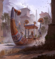 """Card illustration for """"Monumental"""", Chang-Wei Chen Beautiful piece reflecting the ancient culture of Egypt, using the bracelet found in the tomb of Tutankhamun Life In Ancient Egypt, Ancient History, European History, Ancient Aliens, Ancient Greece, Art History, American History, Gizeh, Art Asiatique"""