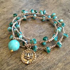 """Lotus, Om Knotted Turquoise Multi Wrap """"Beach Chic"""""""