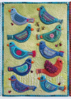 Sue Spargo Bird Play - love the stitched bugs!