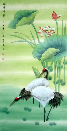 Chinese Crane Painting by Shi Quan.