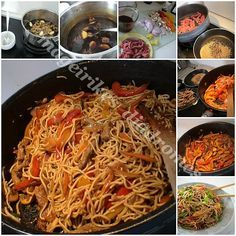 Noodles με μοσχάρι και λαχανικά σε σάλτσα σόγιας Asian Recipes, Ethnic Recipes, Spring Rolls, Japchae, Stir Fry, Great Recipes, Noodles, Fries, Spaghetti