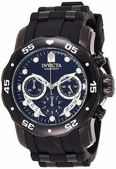 Pinterest Sport Watches, Cool Watches, Watches For Men, Invicta Diver Watch, Scuba Watch, Diving Watch, Glycine Combat, Black Models, Black Stainless Steel