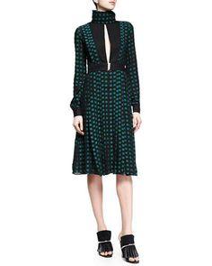 B2W33 Proenza Schouler Fil Coupe Slit Square-Dotted Dress, Black/Green