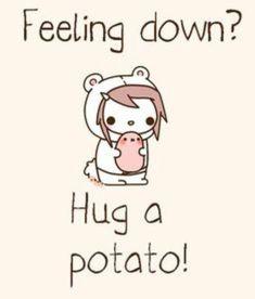I kawaii potato Feeling down hug a potato Kawaii Potato, Cute Potato, Tiny Potato, Sweet Potato, Kawaii Chibi, Kawaii Cute, Kawaii Stuff, Kawaii Anime, Kawaii Drawings
