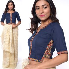 For being saree Kalamkari Blouse Designs, Choli Blouse Design, Sari Blouse Designs, Blouse Designs High Neck, Fancy Blouse Designs, Stylish Blouse Design, High Neck Saree Blouse, Sarees, Navy Blue Blouse