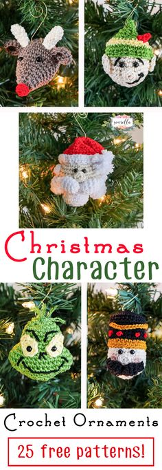 Christmas Character Crochet Ornaments | 25 Days of Christmas Traditions Crochet-a-Long | Free Patterns from Sewrella