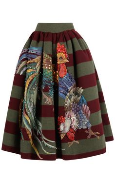 Shop Veruska Striped Wool Skirt With Embroidery by Stella Jean for Preorder on Moda Operandi