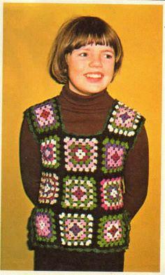 Childrens Granny Square Vest Crochet by SammysVintageCrochet,