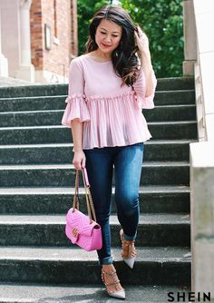 pink pleated top and pink gucci Marmont bag Stylish Dresses For Girls, Stylish Dress Designs, Stylish Outfits, Casual College Outfits, Frock Fashion, Skirt Fashion, Fashion Outfits, Outfit Elegantes, Casual Indian Fashion