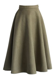 Quilted Midi Skirt in Olive - Retro, Indie and Unique Fashion