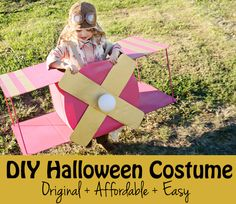 DIY Halloween Costume - super easy airplane costume made with cardboard!