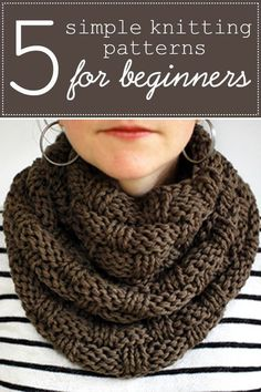 A great collection of five simple knitting patterns for beginners. Each pattern is easy, geared toward new knitters, and doesn't require you to know much beyond knit and purl. Find an easy scarf pattern, hat pattern, and even a beginner sweater! #knittingpatterns #easyknittingpatterns #beginnerknitting #knittingforbeginners