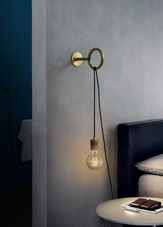 Circus Loop Minimalist Wall Light With Wall Socket - Tudo&Co – Tudo And CoYou can find Wall lighting and more on our website.Circus Loop M. Pendant Lighting Bedroom, Bedside Lighting, Bedroom Lamps, Living Room Lighting, Bedroom Wall Lights, Wall Sconce Bedroom, Hanging Light In Bedroom, Lighting Ideas Bedroom, Bedside Pendant Lights