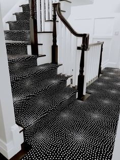 Talk about something bold! This homeowner had fun picking out this pattern for their home in Newton, MA! This carpet is the Orvieto by Kane Carpet and looks awesome! Painted Staircases, Curved Staircase, Staircase Design, Spiral Staircases, Staircase Ideas, Painted Stairs, Black And White Carpet, Black And White Stairs, Black White