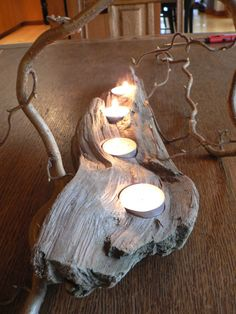 Driftwood art Driftwood candle holder 4 votive mantle piece
