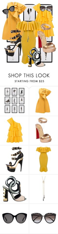 """""""""""Excuse me, you are my backup dancers"""""""" by oneandonlydee ❤ liked on Polyvore featuring Frontgate, Solace, Christian Louboutin, Versace, WithChic, Kat Maconie, Alexis Bittar and Gucci"""