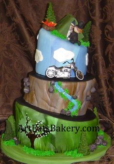 grooms cake inspiration #2 going to have the camping tier on top like this and have a motocross track and bike riding up to it.