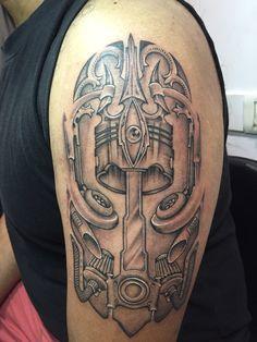 #biomechanical #tattoo #trishul #evileye #turbo #piston
