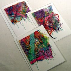 Note cards made with scraps of fabric, etc. Incorporate the fabric paper technique and voile'!