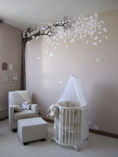 Gender neutral #white #nursery I'm in love with that tree.