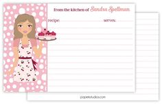 Personalized recipe cards, set of 25 double sided 4x6 recipe cards for bridal showers or housewarming gift - dark blonde hair by PaperKStudios on Etsy