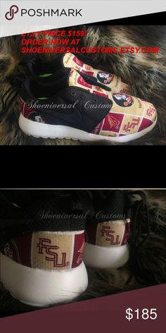 Nike Roshe Run Florida State University Sneakers **FOR BETTER PRICING, CUSTOM ORDERS, MORE STYLES, & RUSH ORDERS VISIT SHOENIVERSALCUSTOMS.ETSY.COM** PLEASE ALLOW 1-2 WEEKS BEFORE SHIPMENT AS THESE ARE MADE TO ORDER. Gorgeous 100% authentic custom Nike Roshe Runs. All sneakers are purchased from authorized Nike retailers & are custom made with high quality & care. Please ask any questions you may have. Thanks! Nike Shoes Athletic Shoes