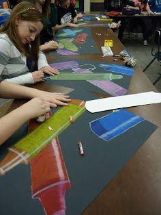 art enrichment: Large scale crayon drawings on black paper: contour (making stencil), stencil, form (intro highlight/shadow) High School Art, Middle School Art, 6th Grade Art, Ecole Art, Principles Of Art, School Art Projects, Collaborative Art, Art Lessons Elementary, Drawing Lessons