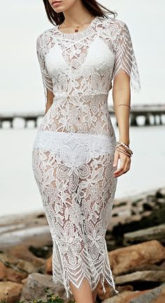 Lace Round Neck See-Through Dress