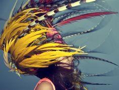Marco Walker's photgraphy series Wanderlust Feather Dream Catcher, Dream Catchers, Vintage Hair Accessories, Makeup Designs, Tribal Fashion, High Fashion, Native Indian, Bird Feathers, Headdress