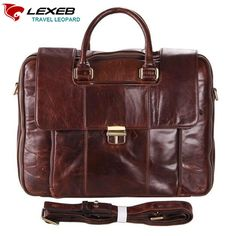 "109.99$  Watch now - http://alie9u.worldwells.pw/go.php?t=32768794367 - ""Cartable Vintage Men's Leather Briefcase LEXEB Brand Business Bag Men 15.6"""" Laptop High Quality Shoulder Bags With Handles Coffe"" 109.99$"