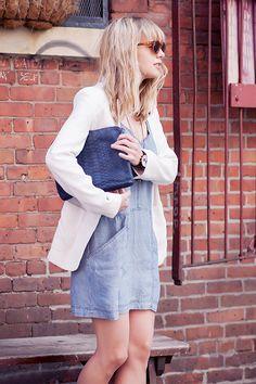 Oversized blazer paired with a denim dress