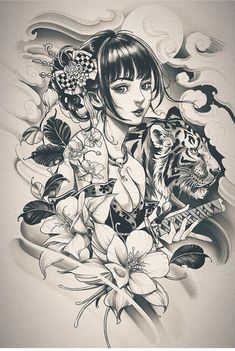 Geisha Tattoos, Geisha Tattoo Design, Japan Tattoo Design, Floral Tattoo Design, Anime Tattoos, Flower Tattoo Designs, Female Samurai Tattoo, Samurai Art, Geisha Kunst