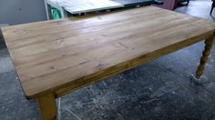 "7ft x 4ft wide plank top rustic table on 4"" turned farmhouse legs, hand-waxed medium brown all-over."