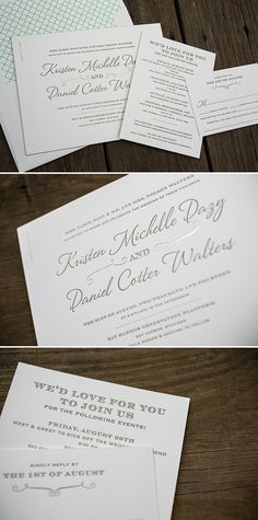 Horizontal Serendipity foil and letterpress wedding invitations with sea-side envelope liners by Bella Figura