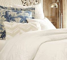 Lacey Cutwork Duvet Cover & Sham: 39.50-279.00 {shown with Kiawah Palm Euro Sham} 39.50 Love the palm print Kiawah in blue