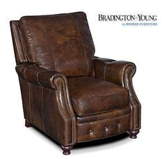 Bradington Young Old Saddle Cocoa Leather Recliner Chair