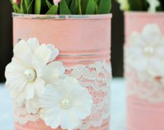 Shabby Chic Re-purposed Tin Cans in Pink Chalk Paint w/ Paper Flowers & Lace ~ Container/ Vase/Decoration/Pencil/ Pens/Utensil Holder ~