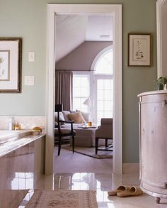 Mauve type color and pale green...coordinating but not same